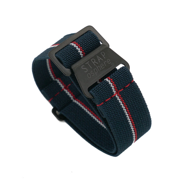 PVD Black StrapoMARINE Navy with Red & White Pin Stripe