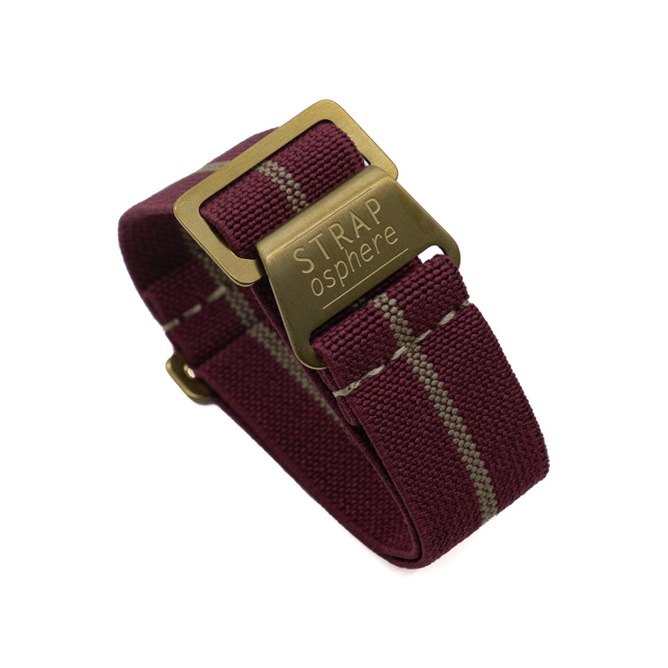 Matte Gold StrapoMARINE Burgundy with Sand Pin Stripe