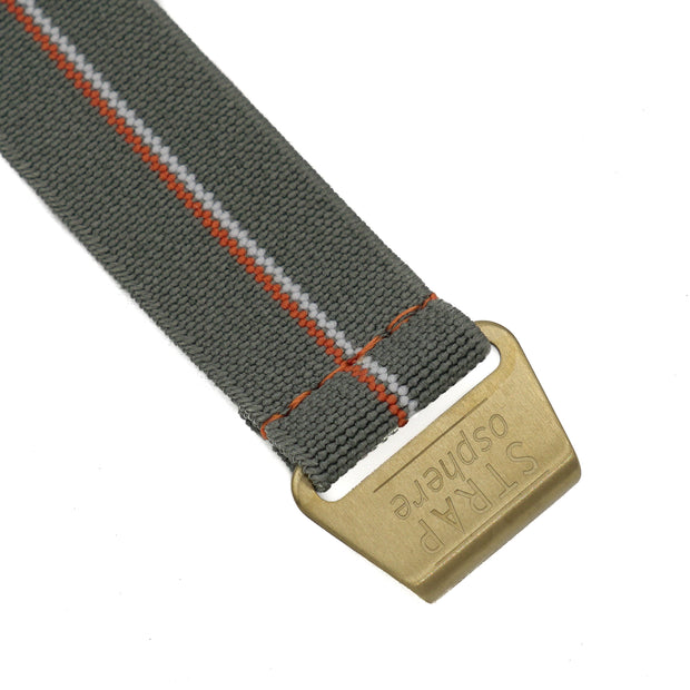 Matte Gold StrapoMARINE Grey with Orange & White Pin Stripe