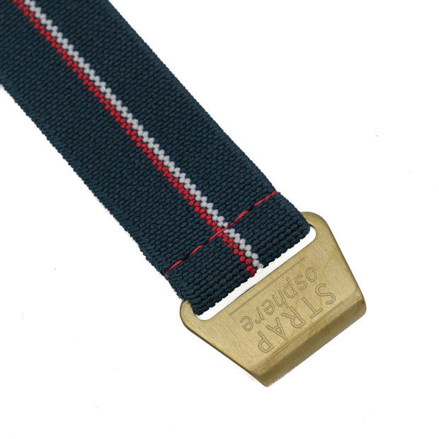 Matte Gold StrapoMARINE Navy with Red & White Pin Stripe