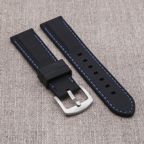 Black with Blue Stitching StrapoSTITCH Silicone 20/22mm