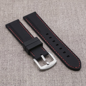 Black with Red Stitching StrapoSTITCH Silicone 20/22mm