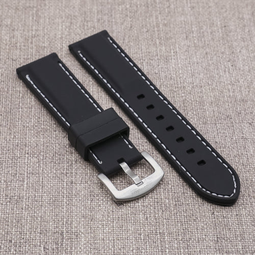 Black with White Stitching StrapoSTITCH Silicone 20/22mm