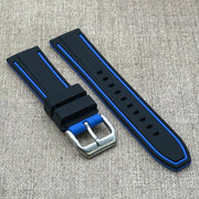 Black w/ Blue stripes StrapoRACER Silicone 20/22mm