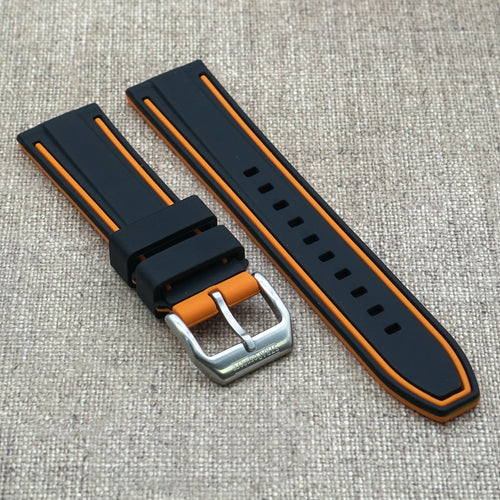 Black w/ Orange stripes StrapoRACER Silicone 20/22mm
