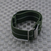 Olive w/ White Pin Stripe StrapoMARINE Elastic Nylon 20/22mm