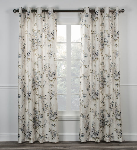 Chatsworth Floral Print Lined Grommet Top Panel Window Curtain