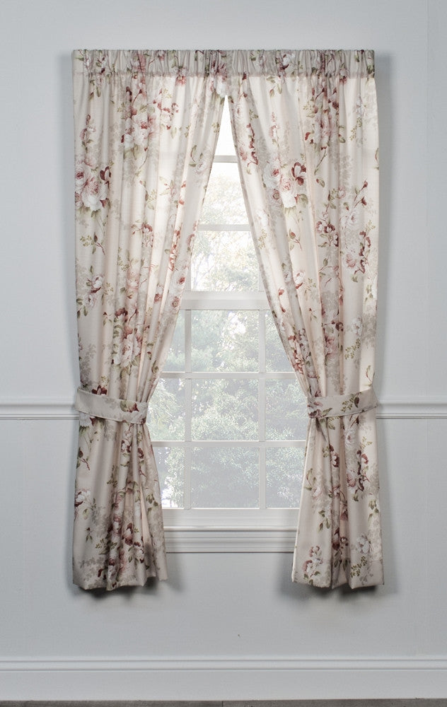 Chatsworth Floral Print Tailored Panels Window Curtains With Tie Backs