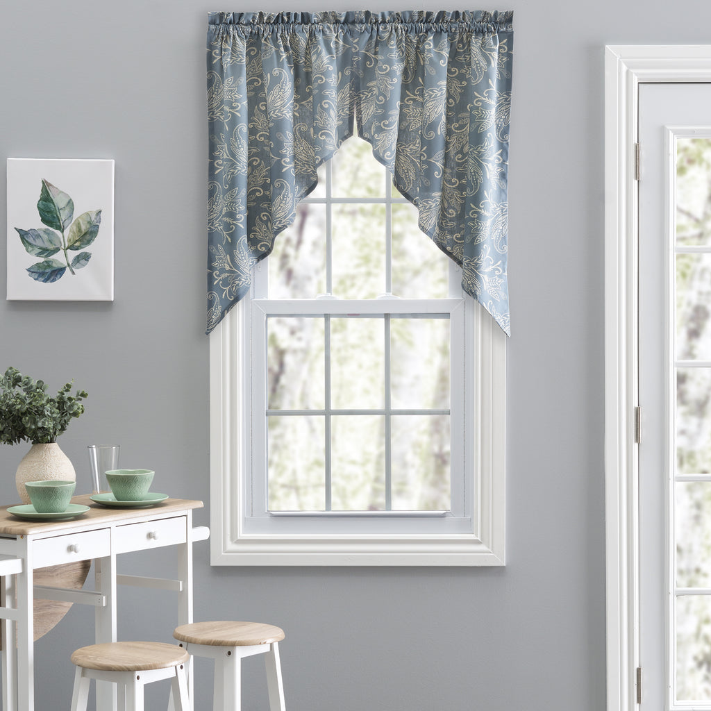Lexington Leaf Print Swags Window Curtains Pair