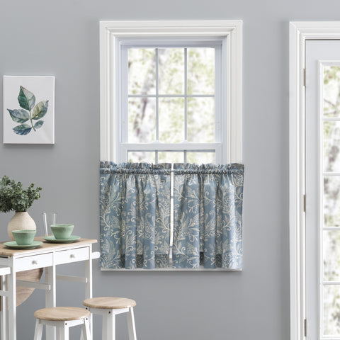 Lexington Leaf Print Tiers Window Curtains Pair