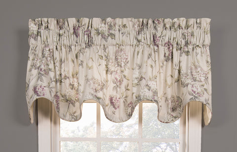 Abigail Floral Hydrangea Print Lined Scallop Valance Window Curtain