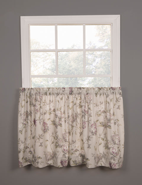 Abigail Floral Hydrangea Print Tailored Tiers Window Curtains