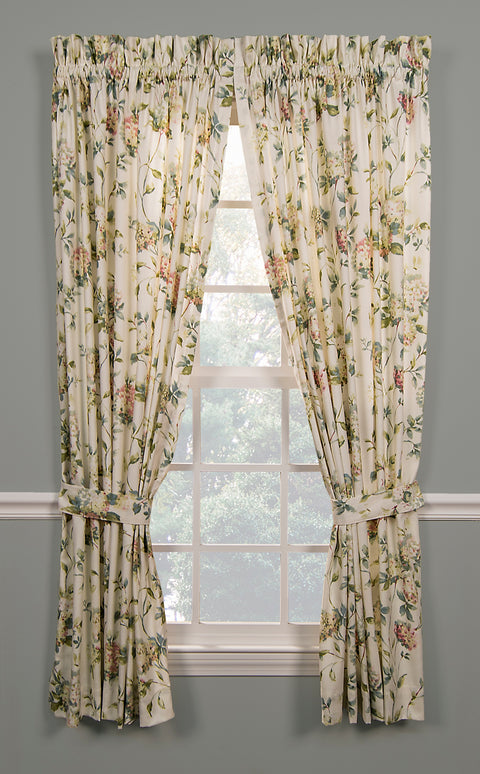 Abigail Floral Hydrangea Print Tailored Panels Window Curtains with Tie Backs