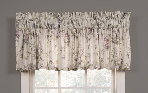 Abigail Floral Hydrangea Print Tailored Valance Window Curtain