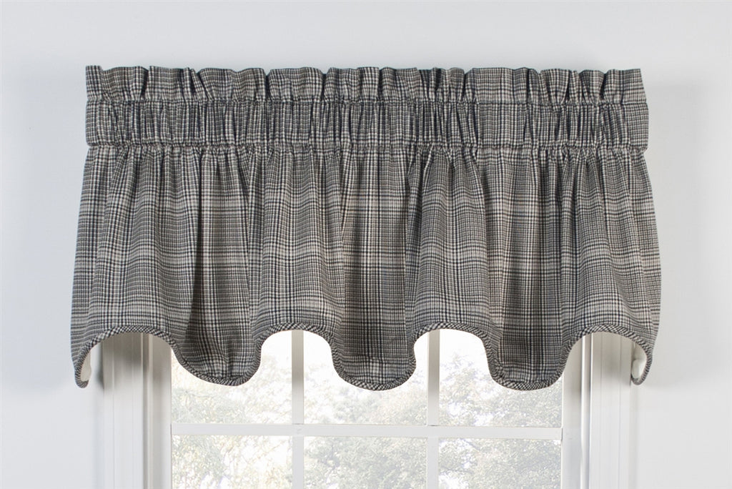 Morrison Plaid Print Cotton Twill Lined Scallop Valance Window Curtain
