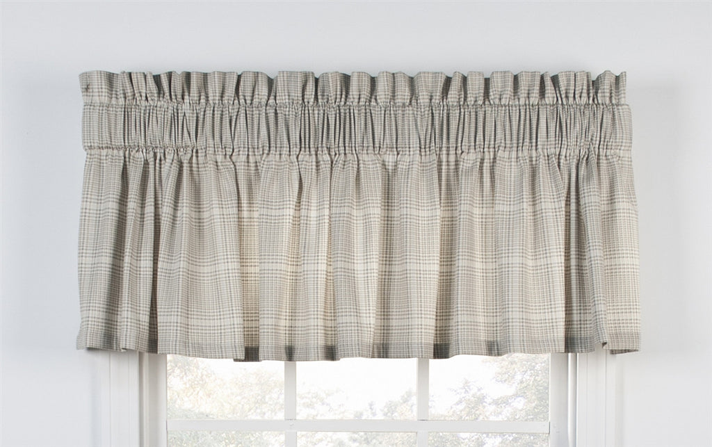 Morrison Plaid Print Cotton Twill Tailored Valance Window Curtain