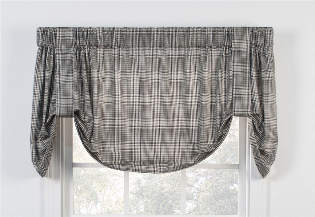 Morrison Plaid Print Cotton Twill Tie Up Valance Window Curtain
