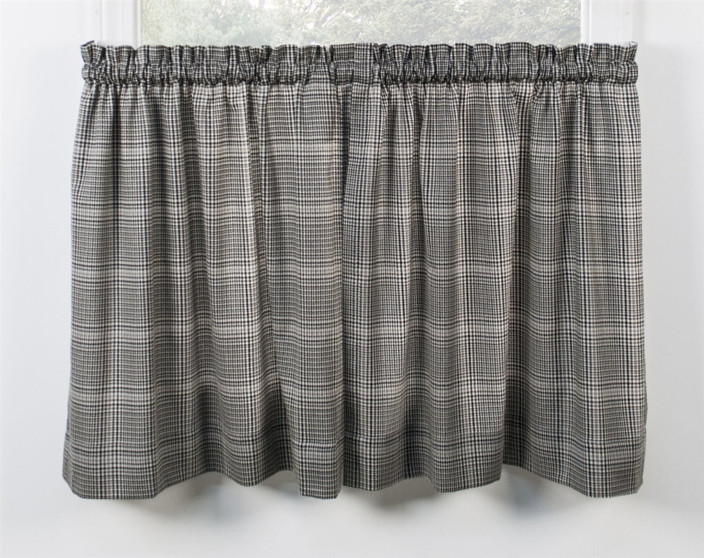Morrison Plaid Print Cotton Twill Tailored Tiers Window Curtains
