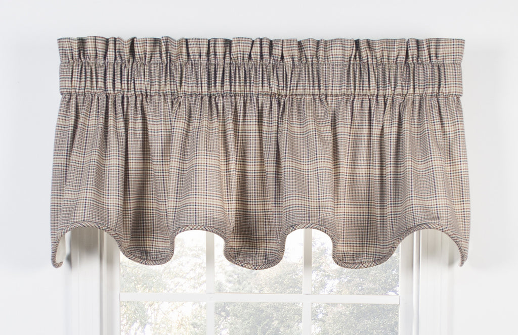 Morrison Plaid Print Cotton Twill Fabric Shower Curtain   Window Toppers
