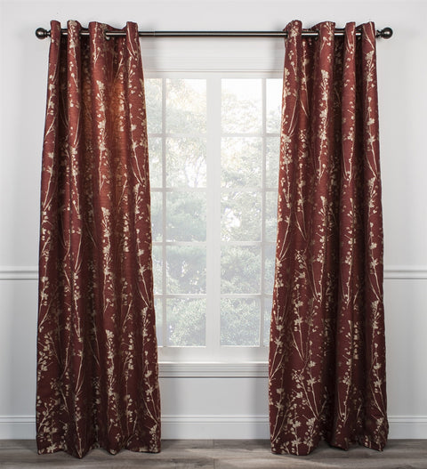 Meadow Open Floral Print Lined Grommet Top Panel Window Curtain