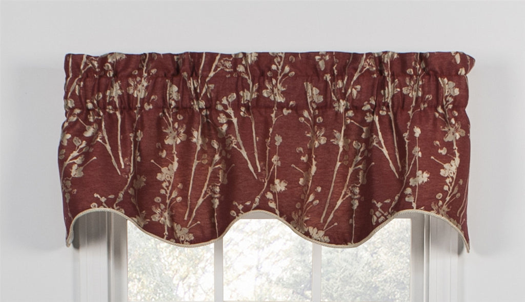 Meadow Open Floral Print Lined Scallop Valance Window Curtain