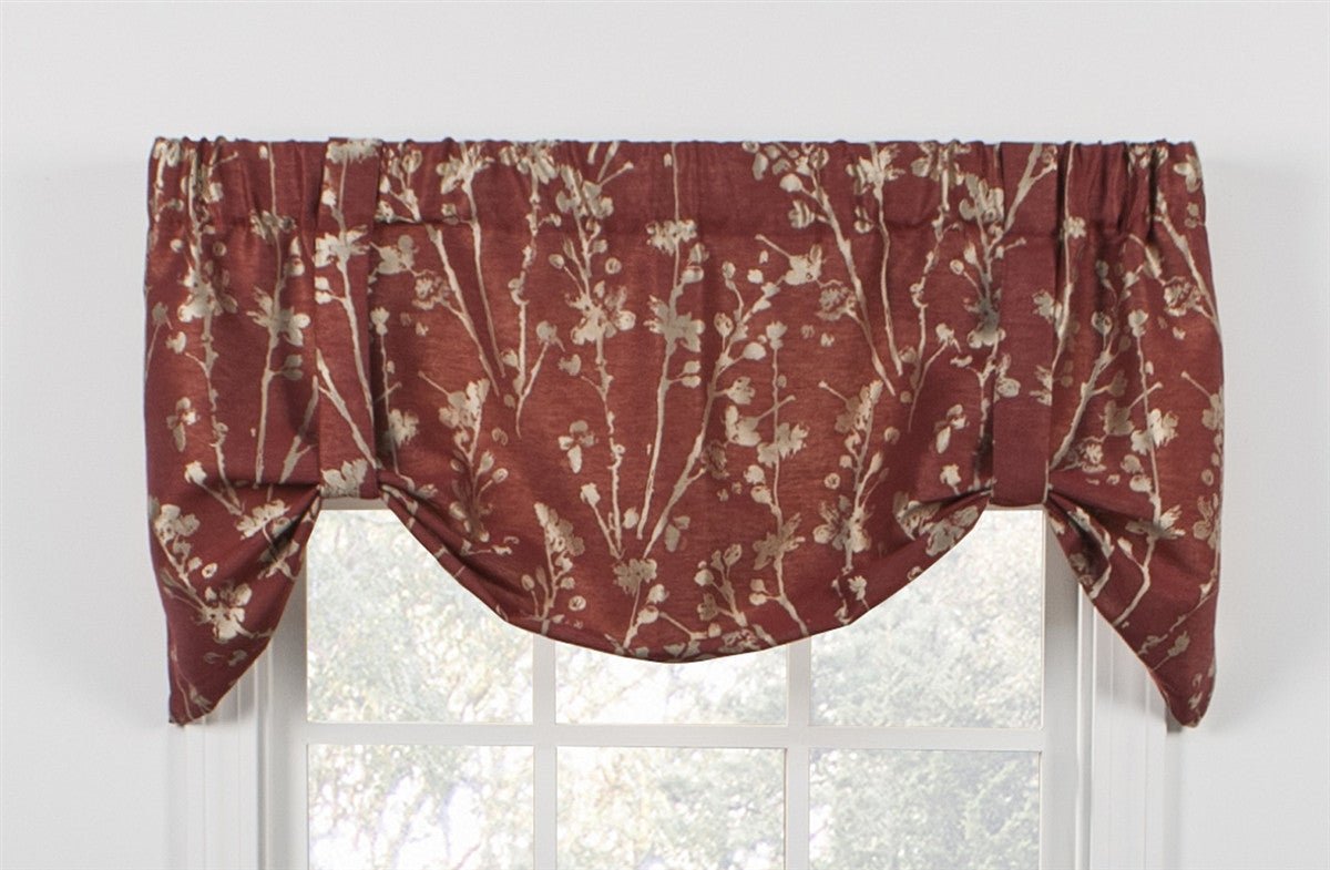 Meadow Open Floral Print Lined Tie Up Valance Window Curtain