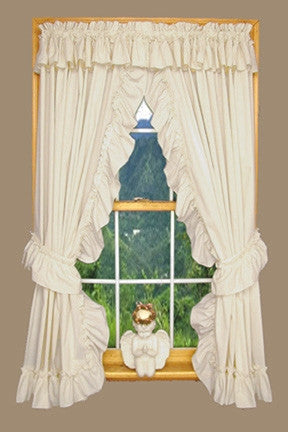 Heather Solid Color Ruffled Priscilla Window Curtains with Attached Top Ruffle and Tie Backs