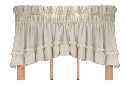 Stephanie Solid Color Country Ruffled Crescent Valance Window Curtain