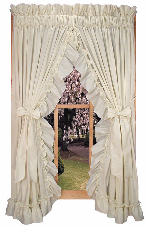 Stephanie Solid Color Country Ruffled Priscilla Window Curtains with Bow Tie Backs