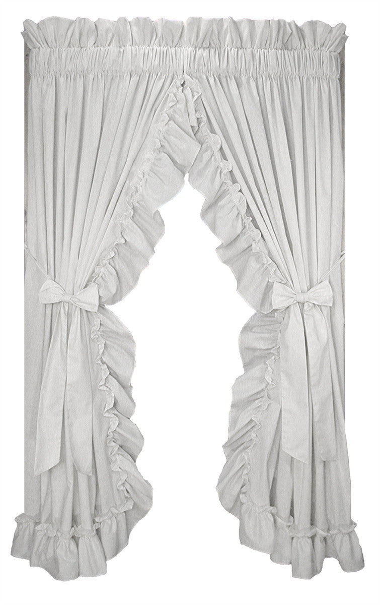 White ruffle curtain - Stephanie Solid Color Country Ruffled Priscilla Window Curtains With Bow Tie Backs