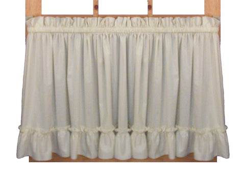 Stephanie Solid Color Country Ruffled Tiers Window Curtains