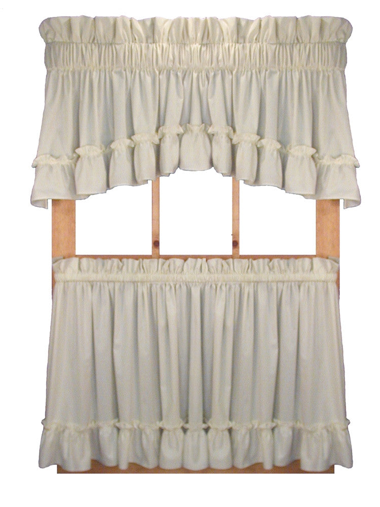 ... Stephanie Solid Color Country Ruffled Tiers Window Curtains ...