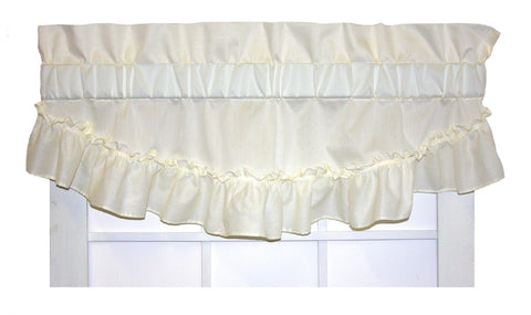Stephanie Solid Color Ruffled Filler Valance Window Curtain