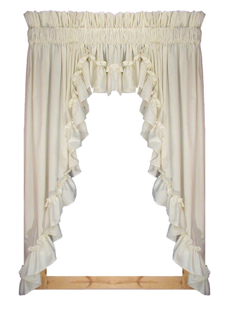 Stephanie Natural Solid Color 3 Piece Country Ruffled Swags & Filler Valance Window Curtains Set