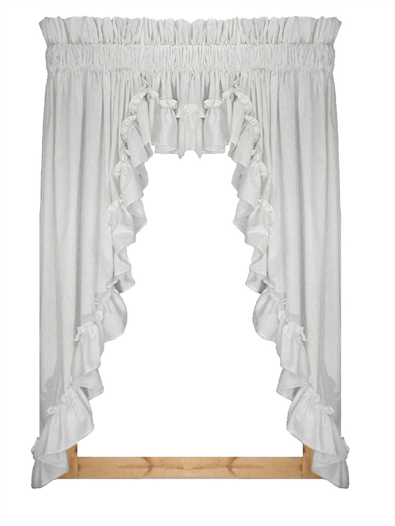 Stephanie White Solid Color 3 Piece Country Ruffled Swags & Filler Valance Window Curtains Set