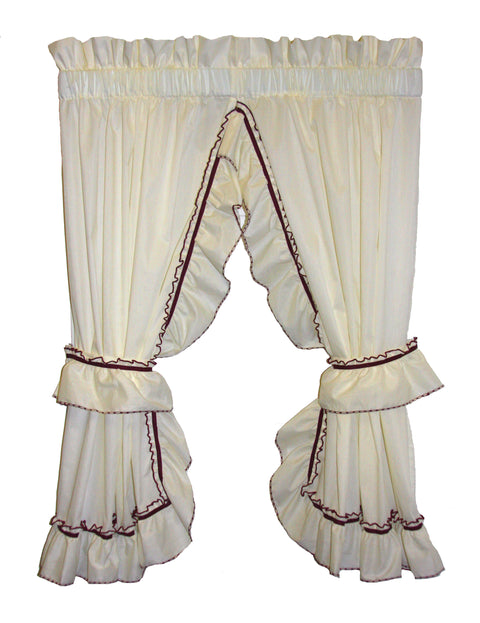 Jenny Country Ruffled Priscilla Window Curtains with Tie Backs