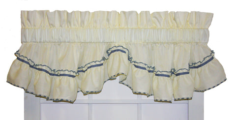 Jenny Country Ruffled Shaped Valance Window Curtain