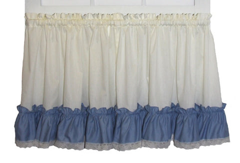 Madelyn Victorian Ruffled Tiers Window Curtains with Lace Edging