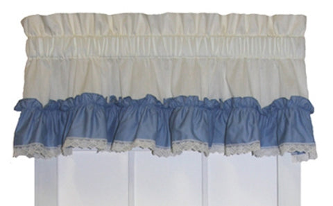 Madelyn Victorian Ruffled Valance Window Curtain with Lace Edging