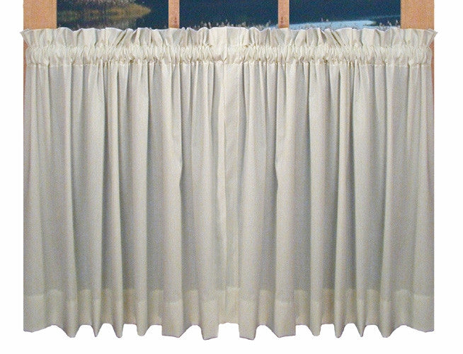 Kerry Solid Color Tailored Tiers Window Curtains