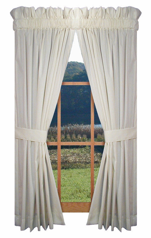 Kerry Solid Color Tailored Panels Window Curtains with Tie Backs
