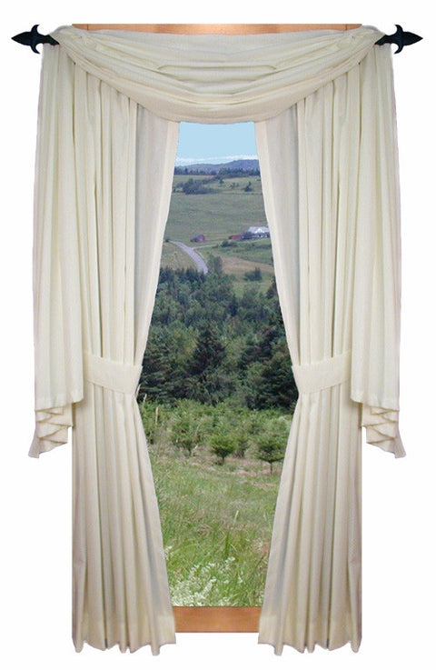Kerry Solid Color Scarf Valance Window Curtain