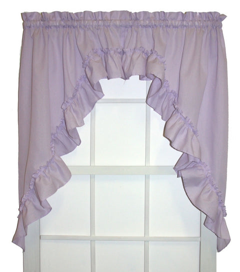 Brooke Solid Color Ruffled Swags Window Curtains Pair