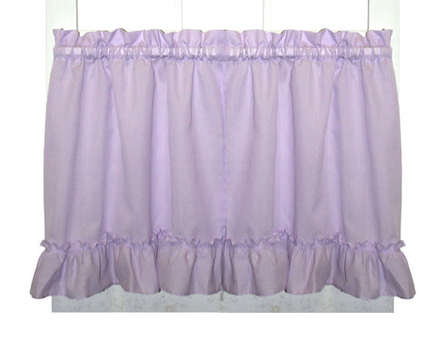 Brooke Solid Color Ruffled Tiers Window Curtains