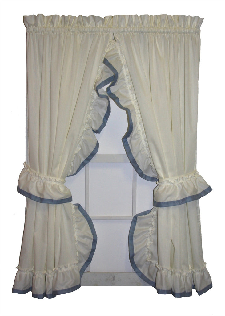 Lucy Country Ruffled Priscilla Window Curtains with Banded Edge Ruffle and Tie Backs