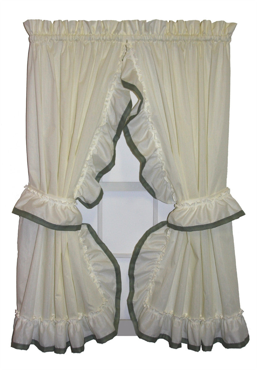 White ruffle window curtains -  Lucy Country Ruffled Priscilla Window Curtains With Banded Edge Ruffle And Tie Backs