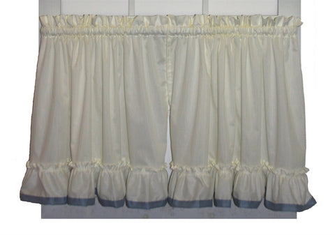 Lucy Country Ruffled Tiers Window Curtains with Banded Edge Ruffle