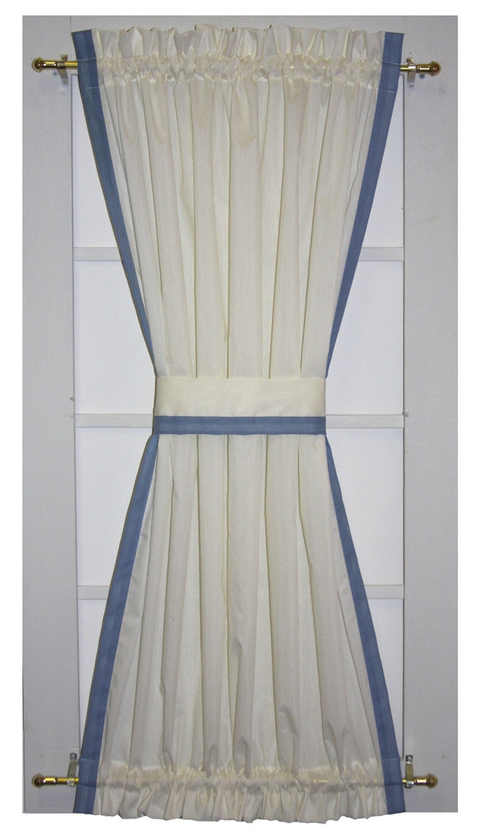 Roslyn Country Door Panel Curtain with Banded Edge and Tie Back