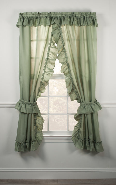 Stacey One Rod Criss Cross Ruffled Priscilla Window Curtains with Tie Backs