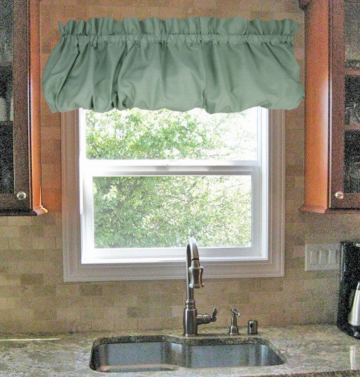 Stacey Solid Color Balloon Valance Kitchen Window Curtain - Window Toppers